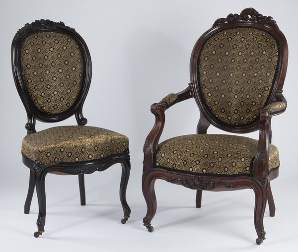 (2) Victorian chairs upholstered in silk