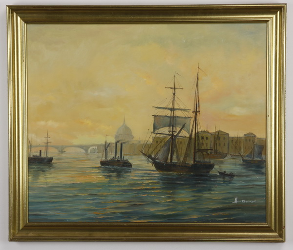 Early 20th c. Continental O/c ships in harbor, signed