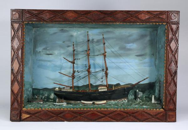 Nautical diorama in a tramp art frame, 28