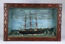 Nautical diorama in a tramp art frame, 28