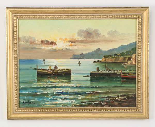 20th c. Italian O/board of rowboats, signed.