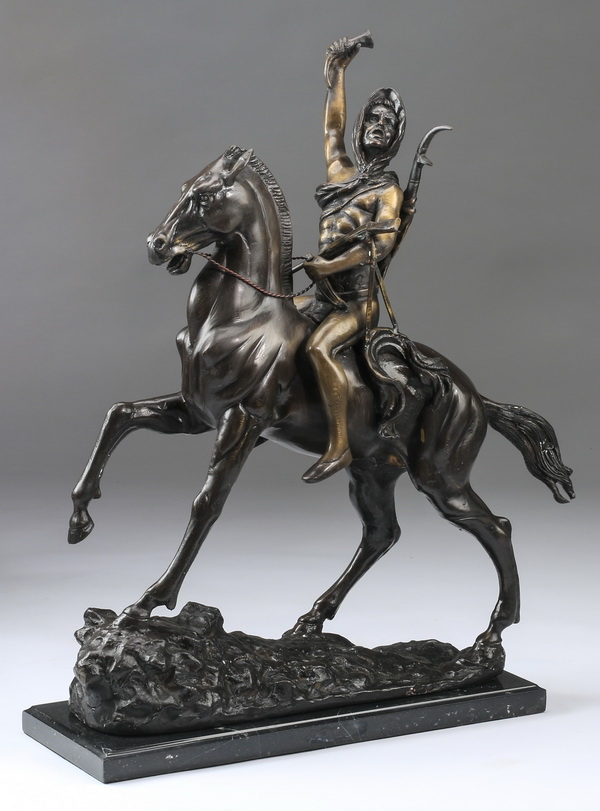 Bronze sculpture titled 'Scalp' after Remington, 26
