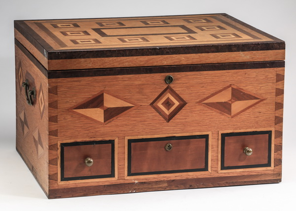 American folk art parquetry document box, 11