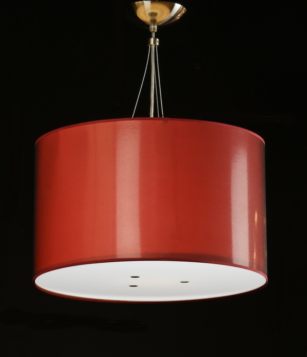 Contemporary red and chrome chandelier