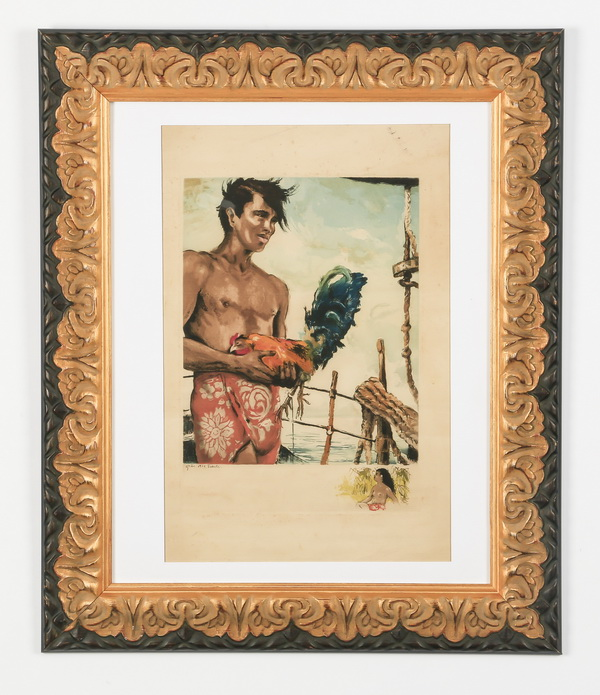 Serge Gres (French), litho Tahitian boy and rooster