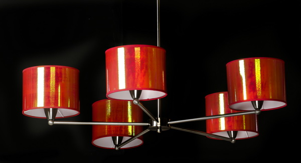 Contemporary chrome chandelier w/ red mylar shades