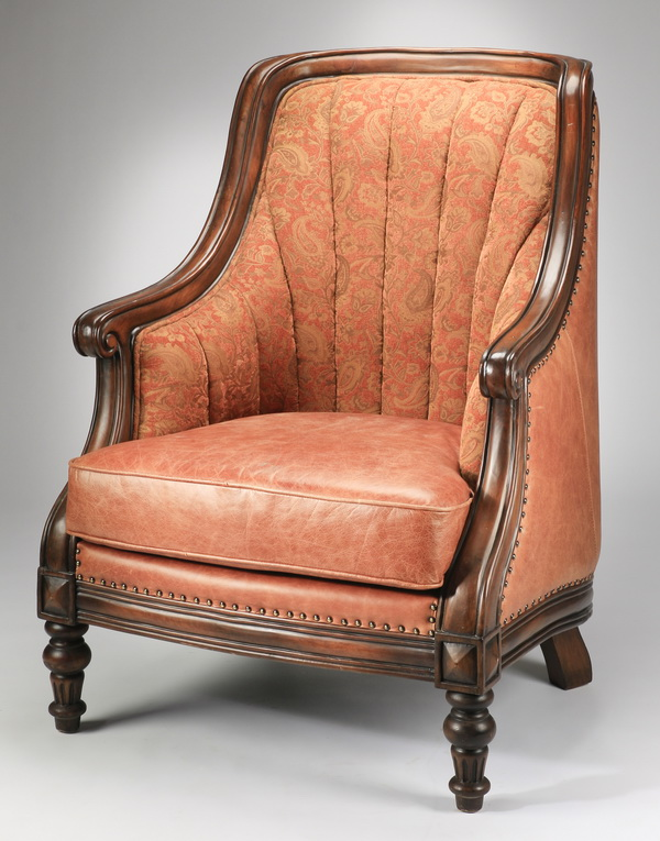 English style tub chair in paisley fabric and leather