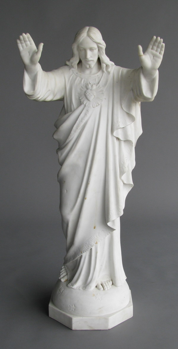 19th c. carved marble sculpture of Christ