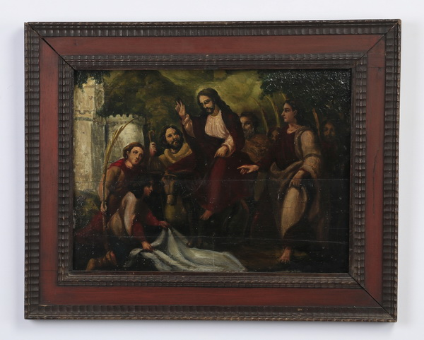Spanish Colonial O/panel of Palm Sunday