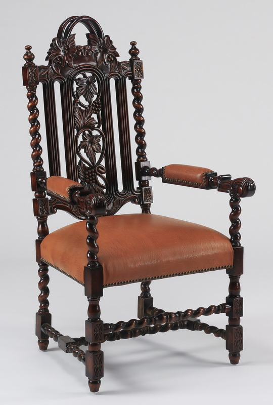 Carved Italian style armchair, in leather