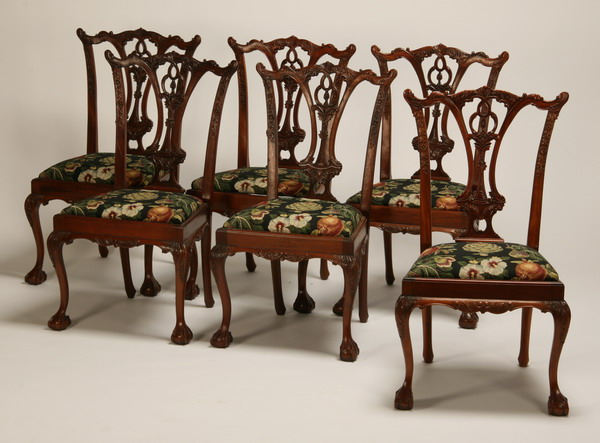 (6) Carved mahogany Chippendale style chairs