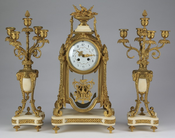 19th c. French clock garniture set, 20