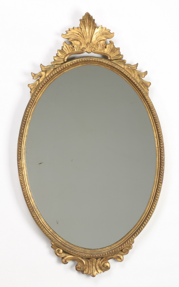 Continental gesso and giltwood mirror, 32