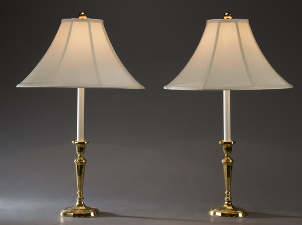 (2) Brass candlestick table lamps with linen shades