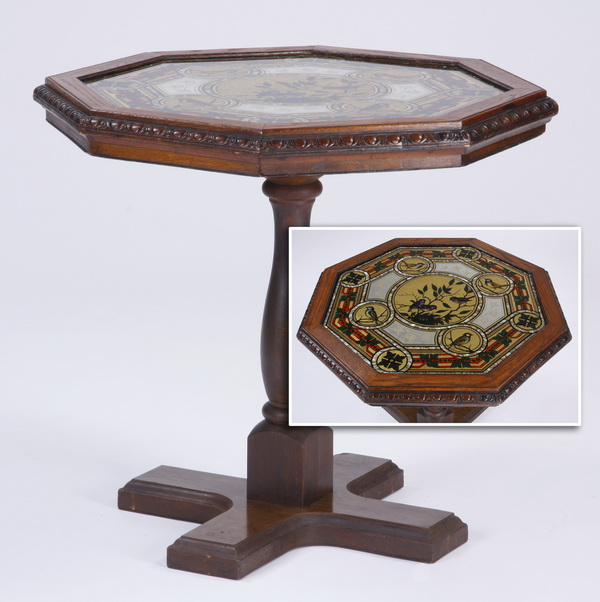 Octagonal oak table with reverse painted top