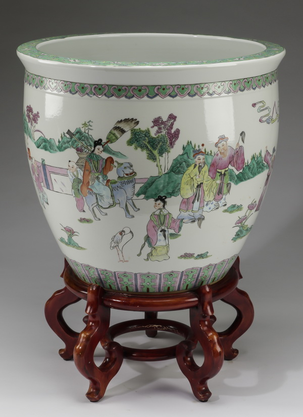 Chinese ceramic fishbowl with stand