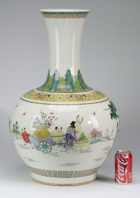 Chinese bottle vase with Magu and attendants