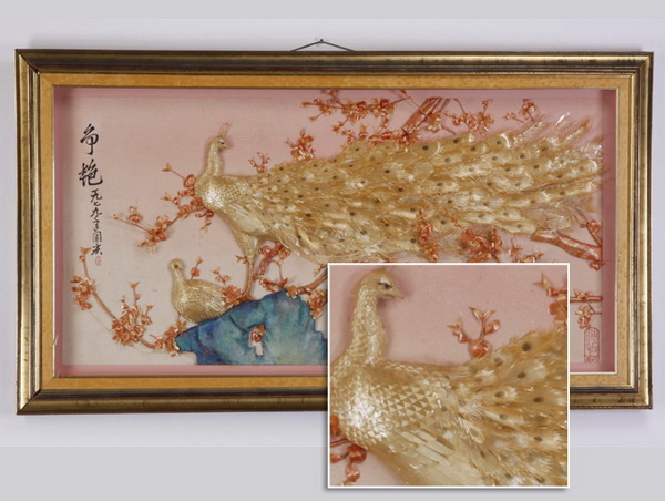Framed Chinese peacock, inscribed, artist's seal, 55