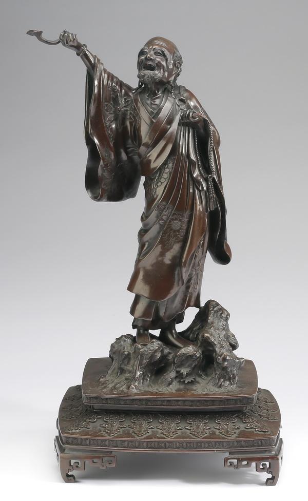 Meiji period Japanese bronze of a scholar, 17