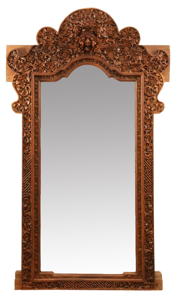 Hand carved teak wood mirror, 105