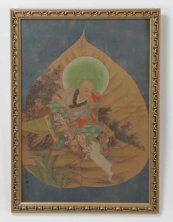 Tibetan thangka depicting a scholar and a ram, 39