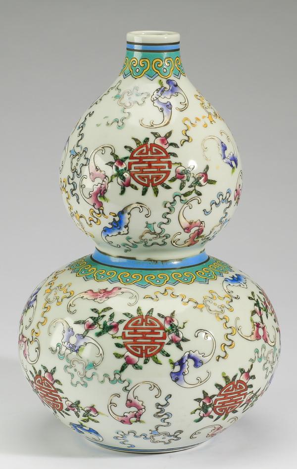 Chinese double gourd Shou vase, 13