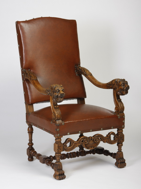 19th c. French walnut armchair in leather