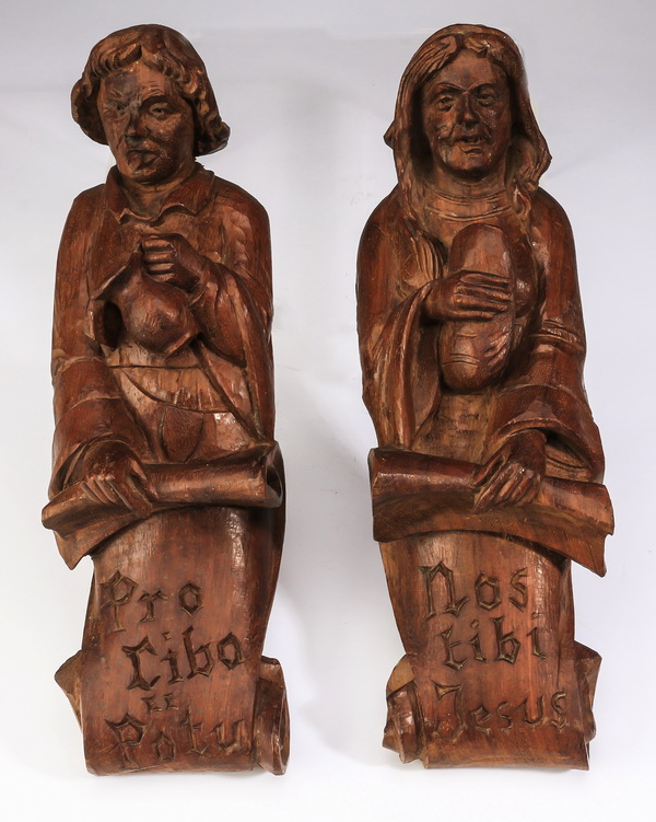 (2) Pair of late 18th c. carved oak term figures