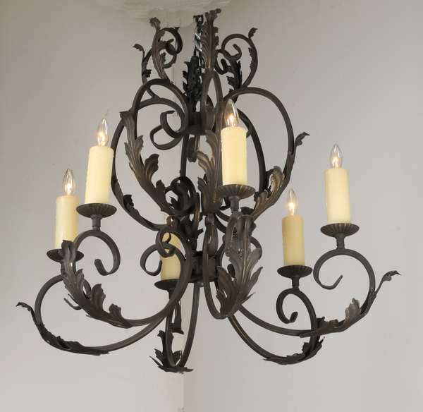 Wrought iron 6-light chandelier, 30