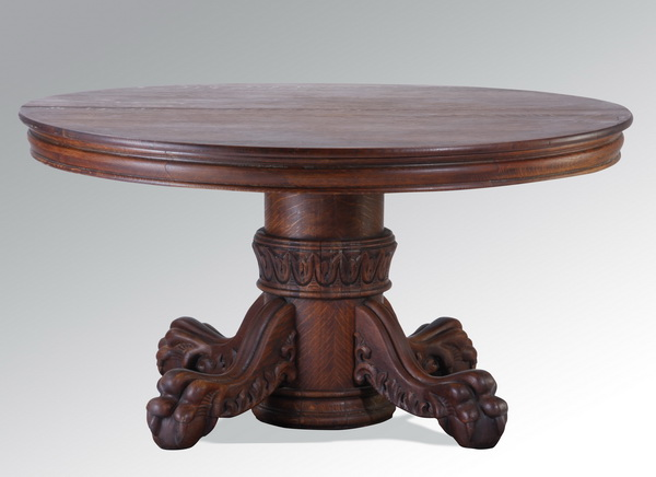 19th c. carved oak center table, 54