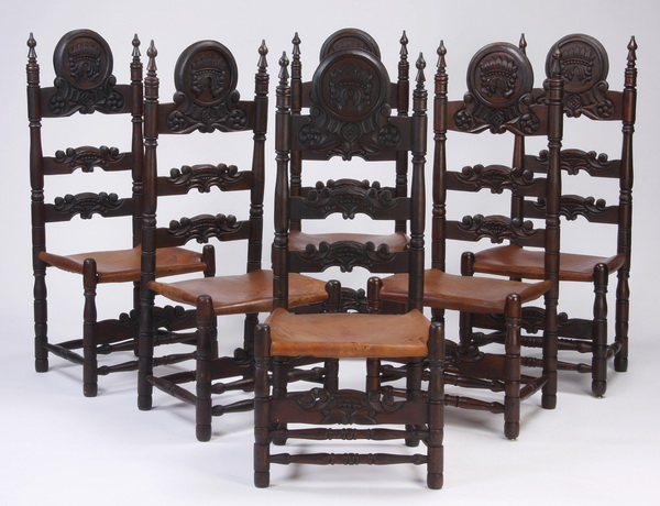 (6) Handcrafted carved and leather chairs