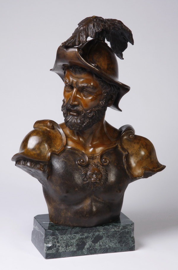 Italian bronze bust on marble base, signed