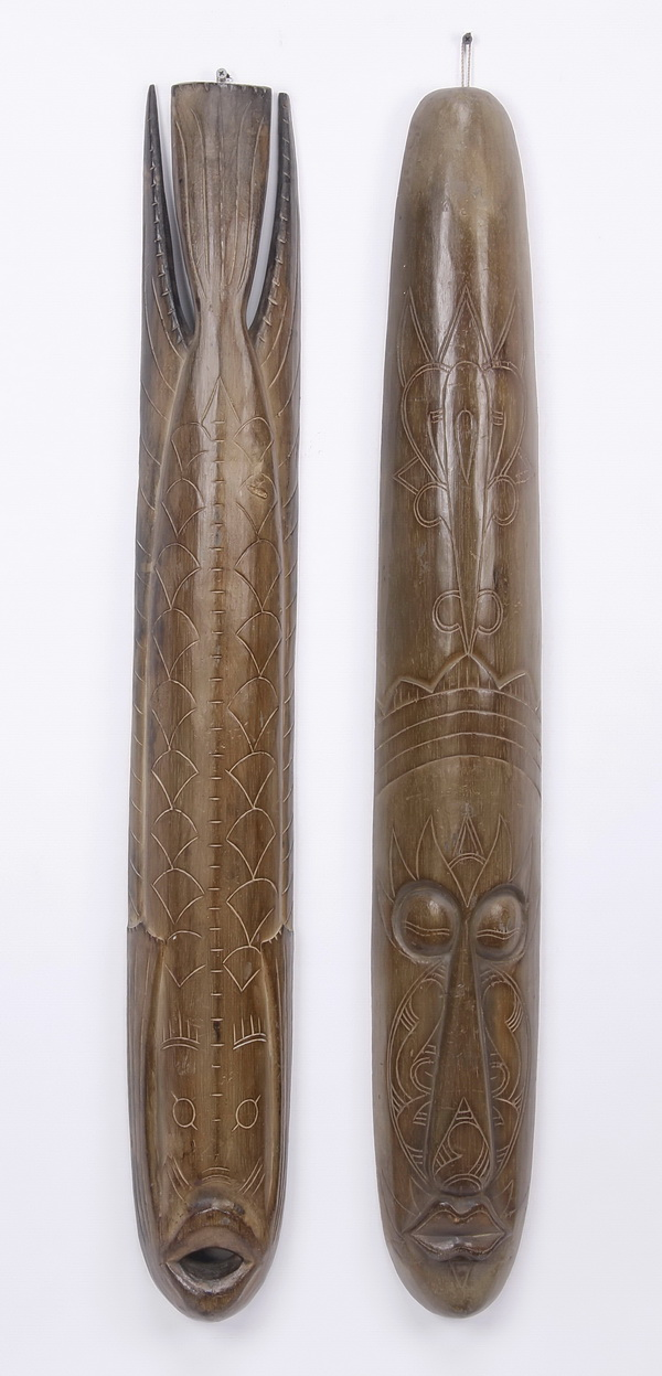 (2) Hand carved Oceanic wall masks, 40