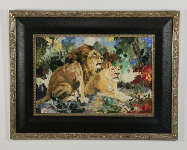20th c. O/c of resting lions, signed. 52