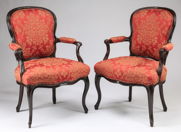 (2) 19th c. Louis XV style fauteuils in damask