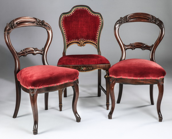 (3) Victorian side or parlor chairs