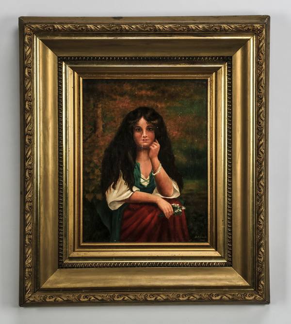 Early 20th c. O/c gypsy girl, signed, dated