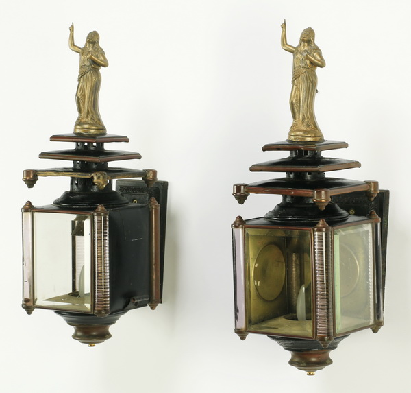 Pair of brass figural carriage lanterns, 23