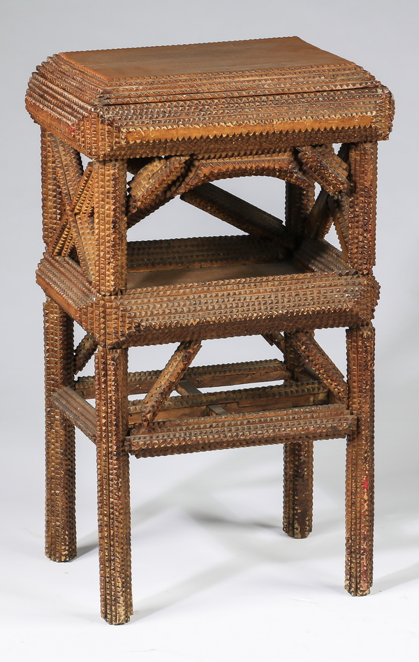 American tramp art carved side table, 30