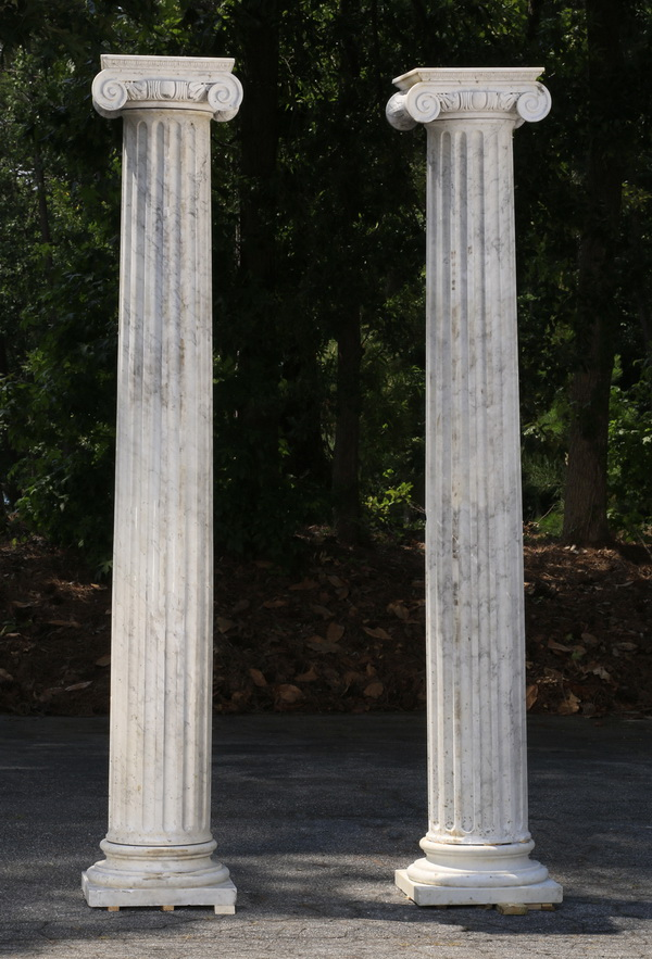 Pair of classic carved marble Ionic columns, 109