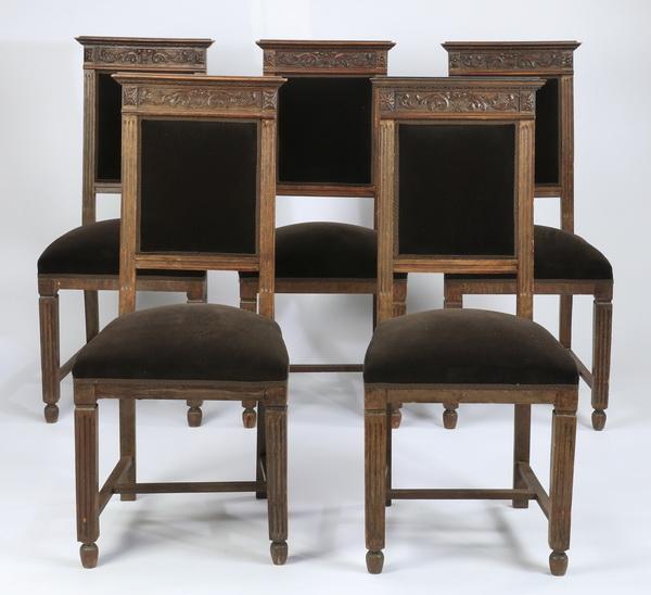 (5) 19th c. carved oak chairs upholstered in velvet