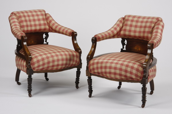 (2) English inlaid mahogany armchairs