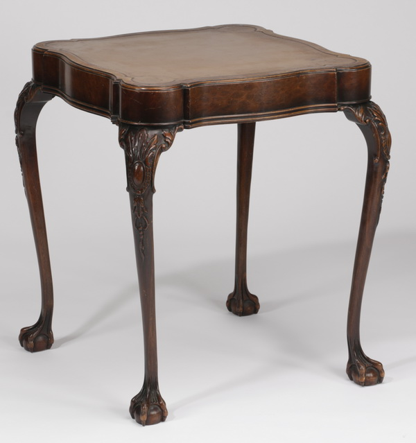 19th c. mahogany side table w/ leather top,  28