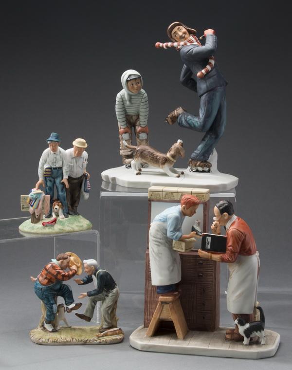 (4) Gorham Norman Rockwell porcelain figurines