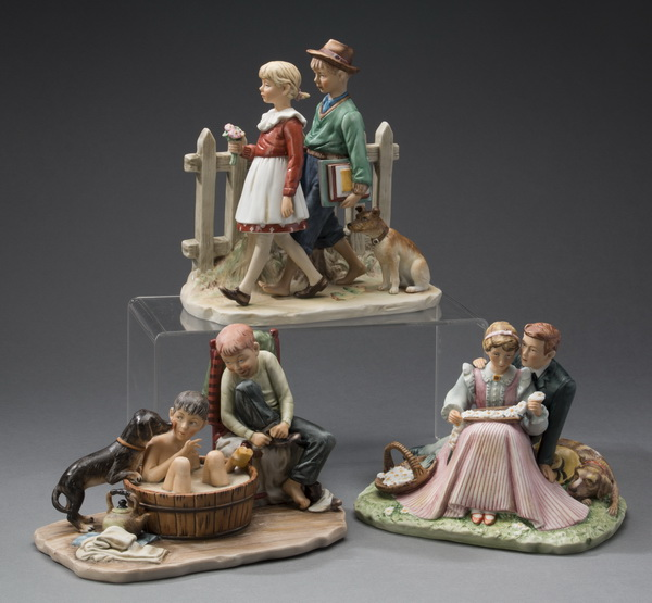 (3) Gorham Norman Rockwell porcelain figurines