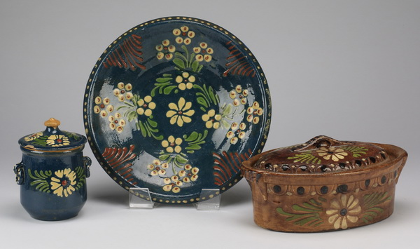 (3) Slip decorated redware serving pieces