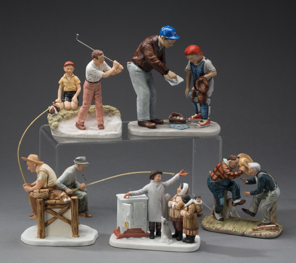 (5) Gorham Norman Rockwell porcelain figurines