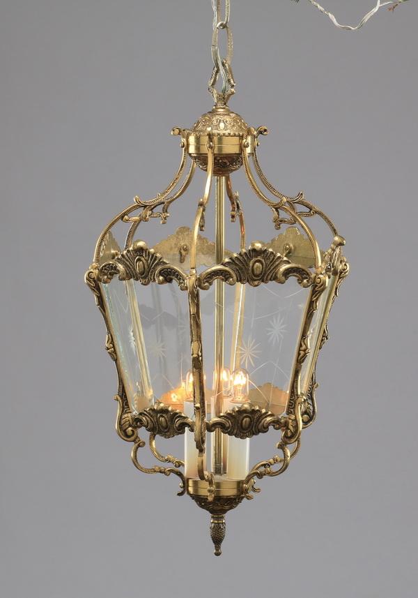 Victorian style brass pendant lantern, 20