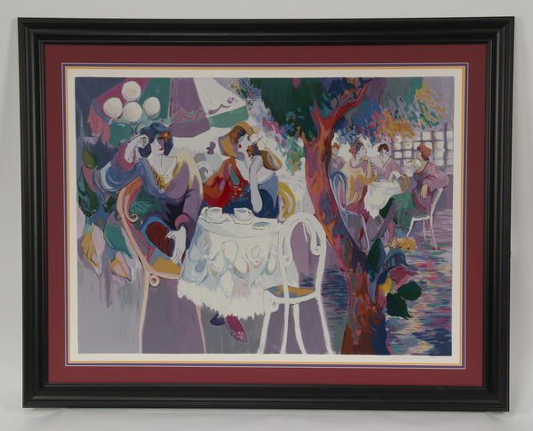Isaac Maimon serigraph, 'West Bank Café,' signed