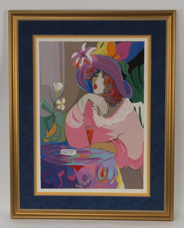 Isaac Maimon serigraph, 'Champagne Girl,' signed